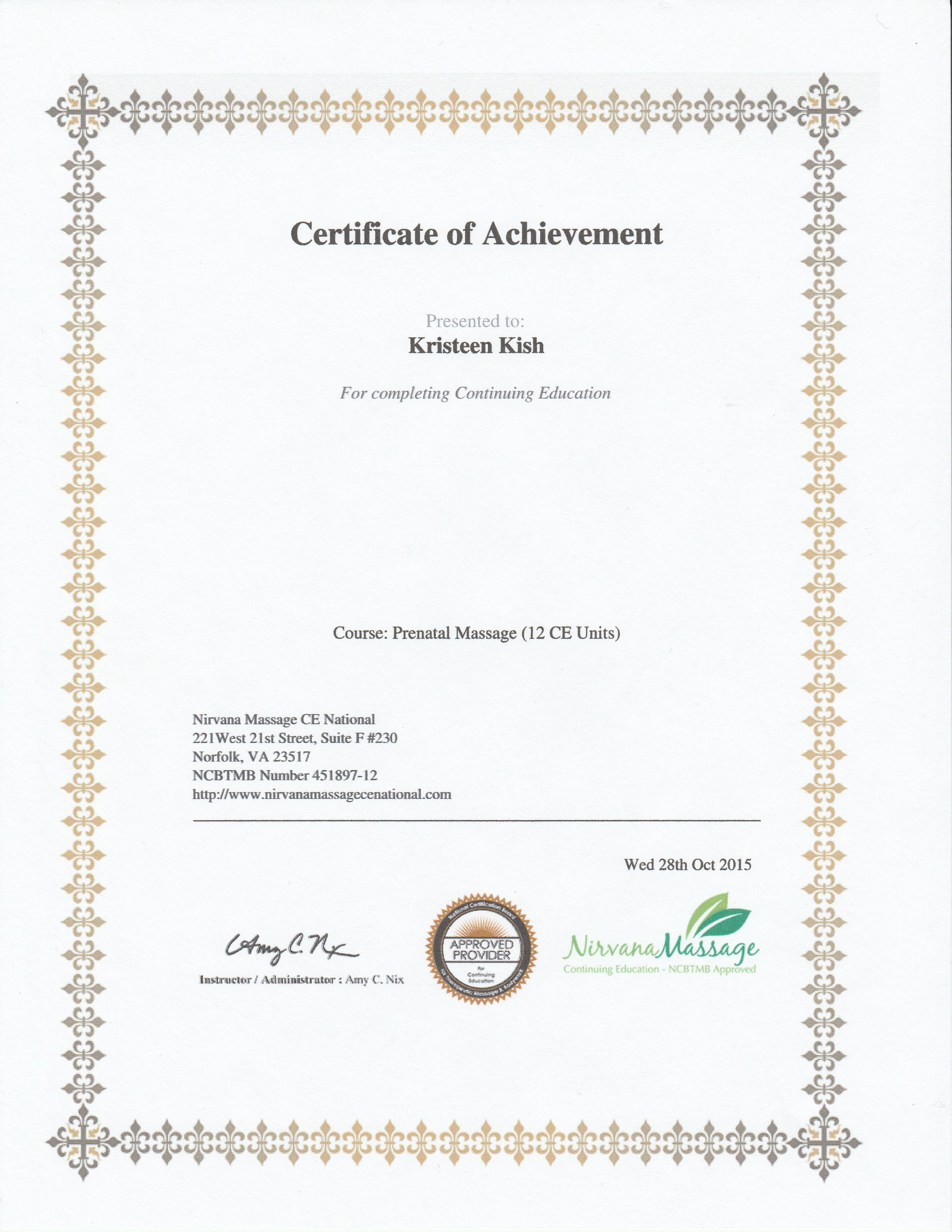 Certifications Adaptive Touch Massage By Kristeen Kish